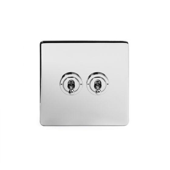 Soho Lighting Polished Chrome 2 Gang Intermediate Toggle Switch Screwless