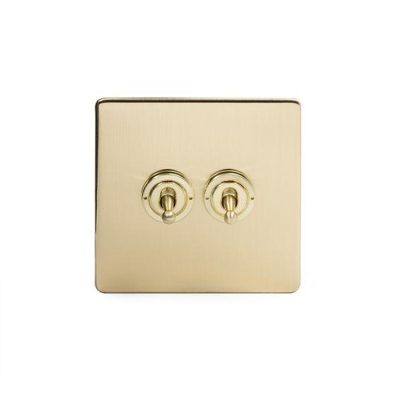 Soho Lighting Brushed Brass 2 Gang Intermediate Toggle Switch Screwless