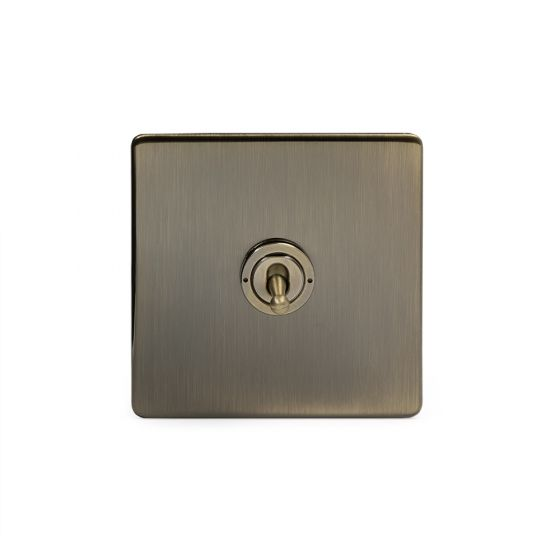 Soho Lighting Antique Brass 1 Gang Intermediate Toggle Switch Screwless