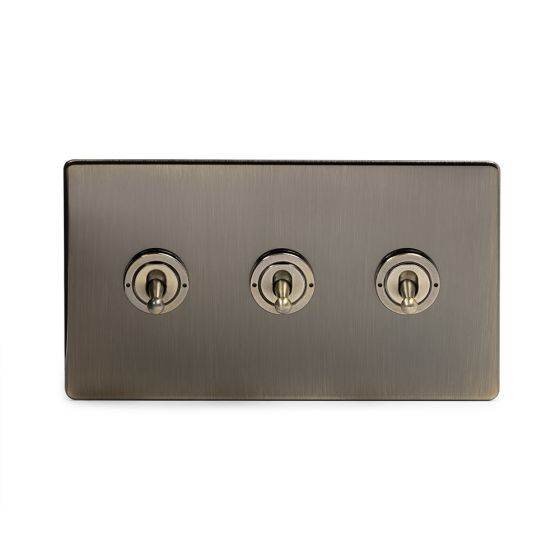 Soho Lighting Antique Brass 3 Gang Intermediate Toggle Switch Screwless