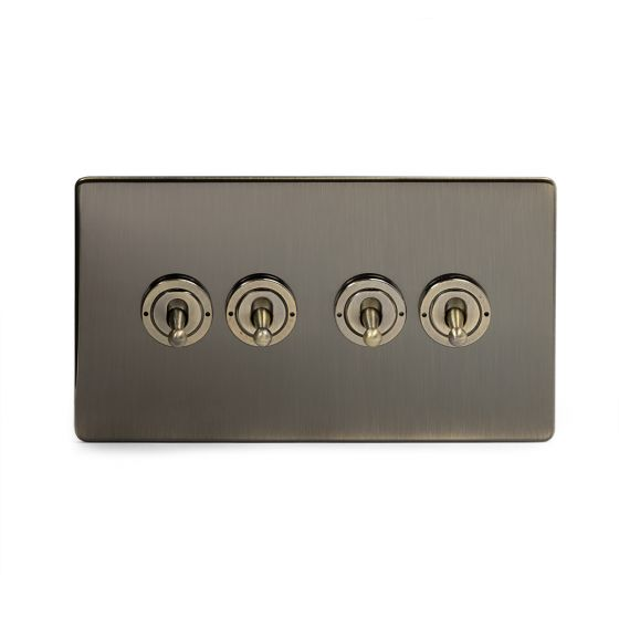 Soho Lighting Antique Brass 4 Gang Intermediate Toggle Switch Screwless