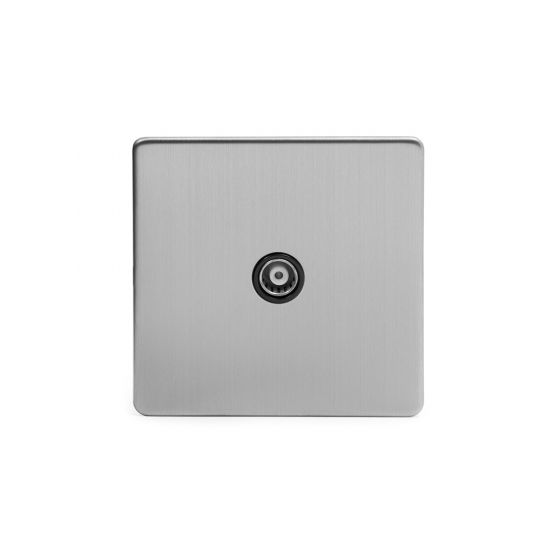 Soho Lighting Brushed Chrome TV Coaxial Socket Black Ins Screwless