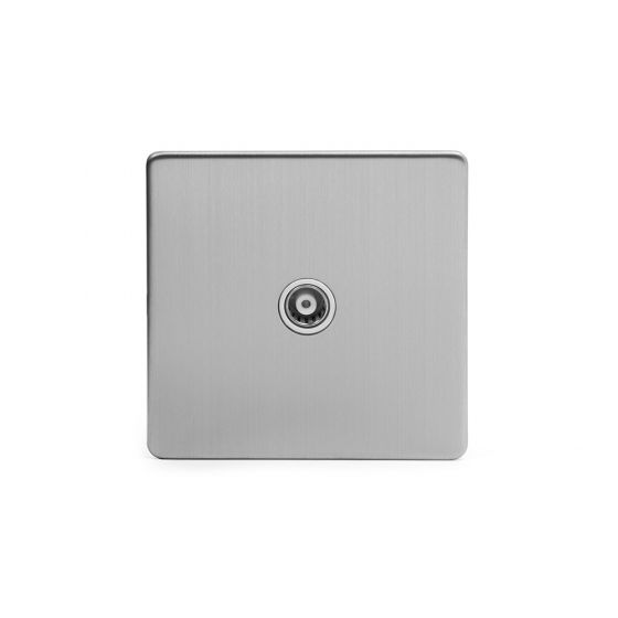 Soho Lighting Brushed Chrome TV Coaxial Socket White Ins Screwless