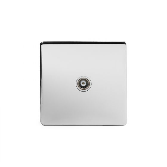 Soho Lighting Polished Chrome TV Coaxial Socket White Ins Screwless