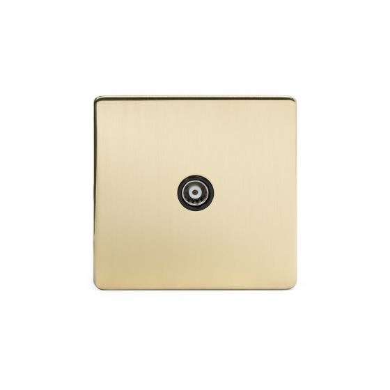 Soho Lighting Brushed Brass TV Coaxial Socket Black Ins Screwless