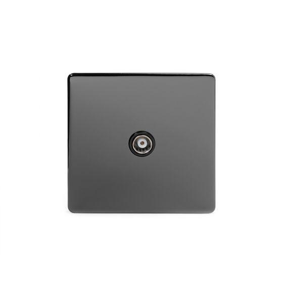 Soho Lighting Black Nickel TV Coaxial Socket Black Ins Screwless