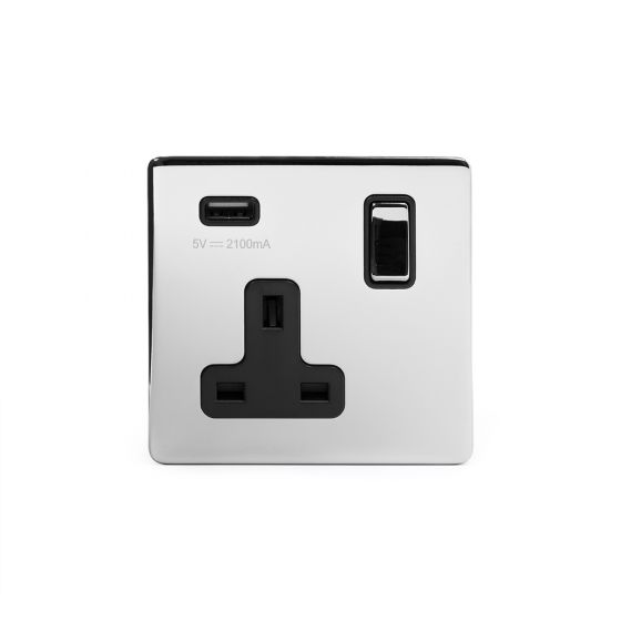 Polished chrome usb socket