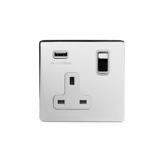 Polished Chrome Single USB Socket