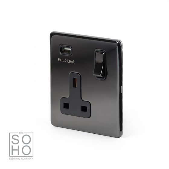 Black Nickel Single USB socket