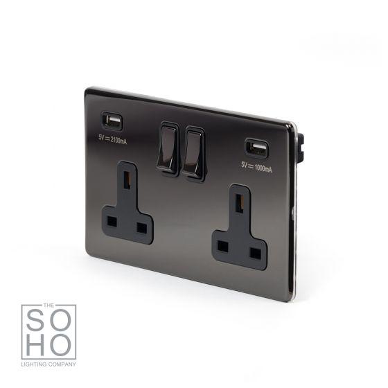 black nickel double usb socket