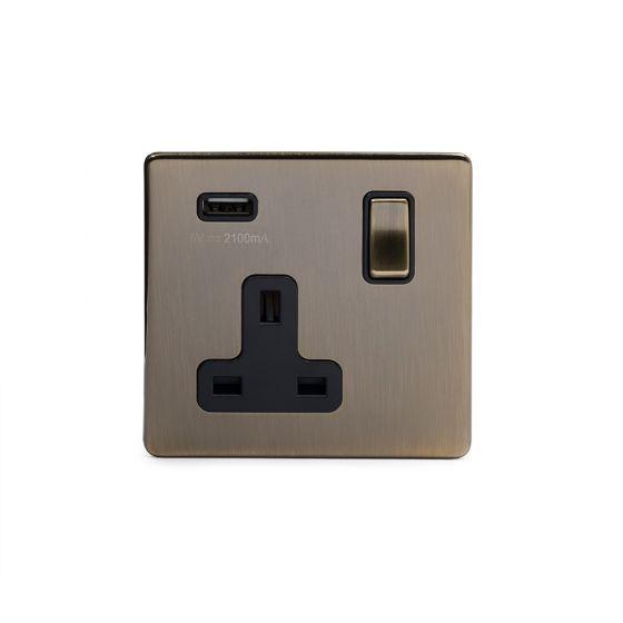 Single Antique brass USB socket