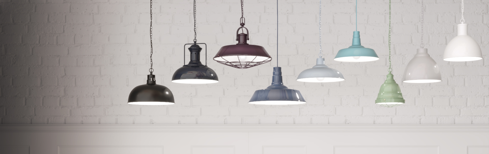 Painted Metal Pendant and Wall Lights